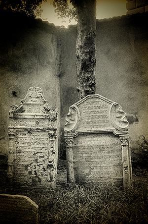 Two Jewish Tombstones Prague Jew Cemetery
