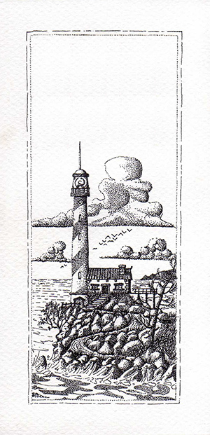 Lighthouse on a Cliff Pointillist