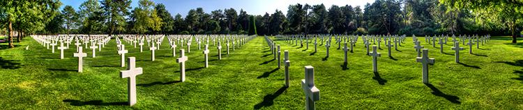 Crosses in the American Cemetery in Omaha Beach