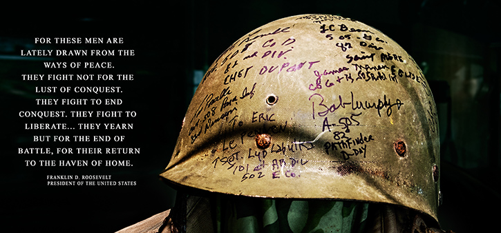 Normandy paratrooper signed helmet