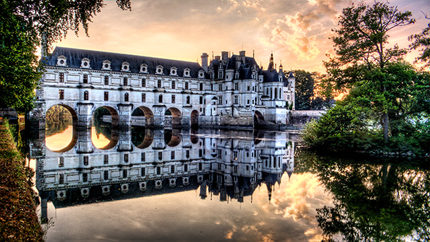 Sunset behind Chateau de Chenonceau and the island - Weston Westmoreland