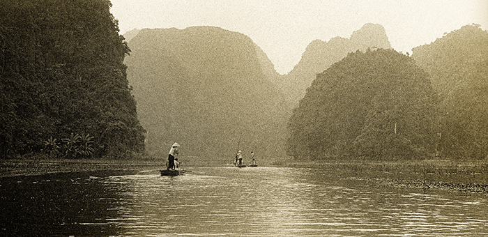 boats on the river Tam Coc , Vietnam