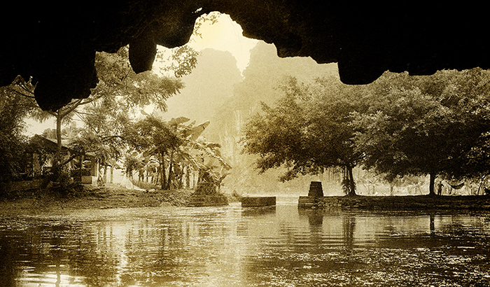 Hut inRiver Tam Coc from a Cave, Vietnam
