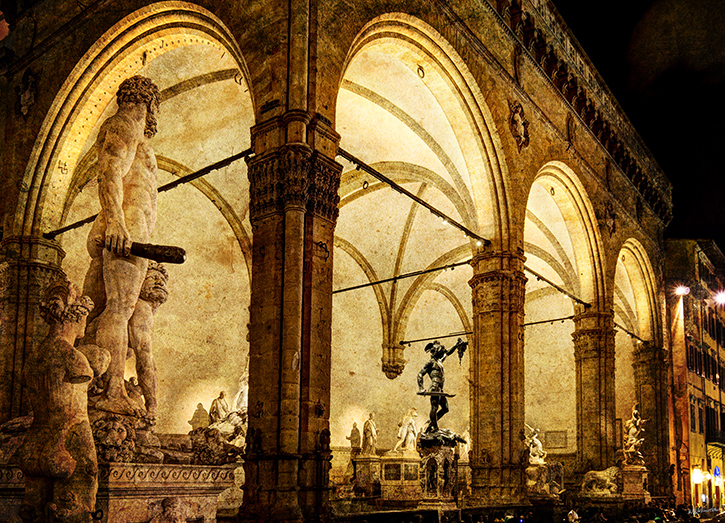 The Loggia dei Lanzi at night vintage