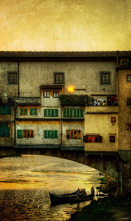 Boats Under The Ponte Vecchio Sunset